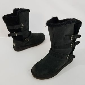 UGG Black Buckle Pull On Shearling Lined Winter Fa